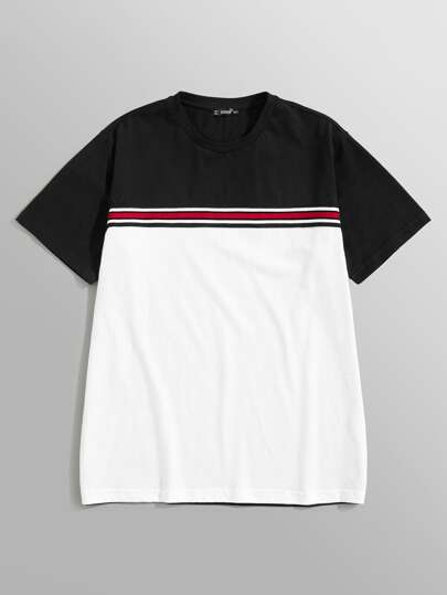 Guys Color Block Striped Tee