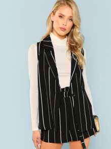 Notched Collar Striped Sleeveless Blazer & Shorts Co-Ord