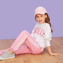 Girls Letter Print Pullover & Pants Set