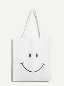 Smile Pattern Canvas Tote Bag