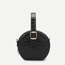 SHEIN | Crocodile Pattern Round Satchel Bag | Goxip