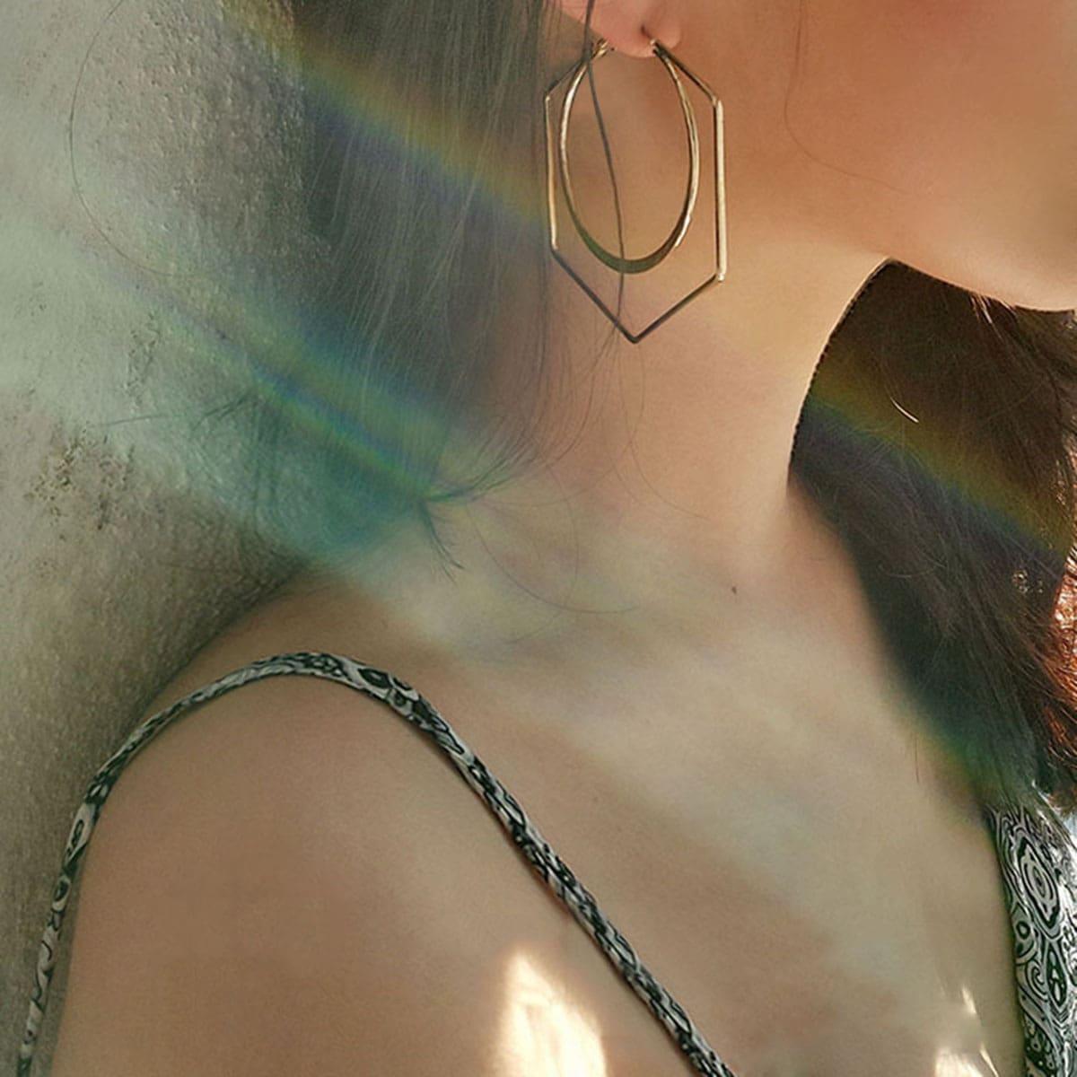 Double Layered Geometric Hoop Earrings 1pair