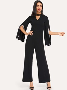 Choker Neck Contrast Wave Trim Split Sleeve Jumpsuit