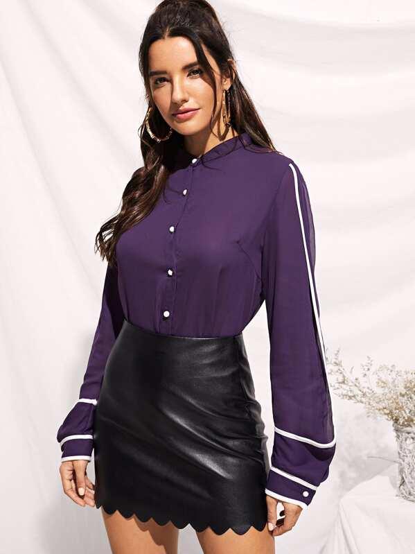 1f973bc8c2c68 Contrast Binding Curved Hem Shirt | SHEIN UK