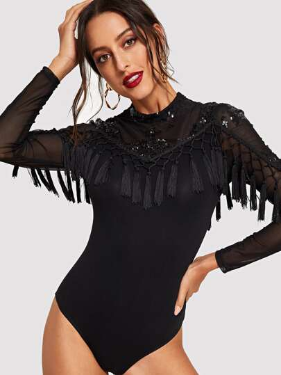 Mock Neck Mesh Yoke Sequin and Fringe Detail Bodysuit