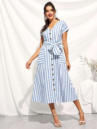 Button Through Patch Pocket Striped Midi Dress