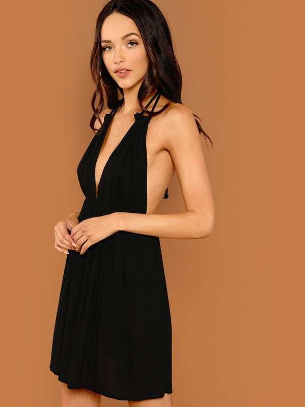 90f047fab7 Open Back Plunge Halter Neck Slip Dress | SHEIN UK