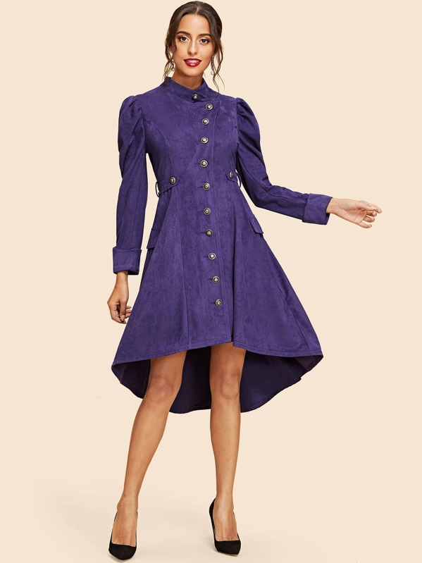 3298498f1d7b Leg-of-mutton Sleeve High Low Suede Dress | SHEIN UK