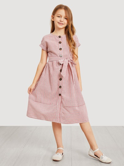 Girls Button Up Belted Striped Dress