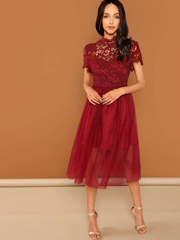 3ebdeb37b08 Guipure Lace Top Tulle Prom Dress