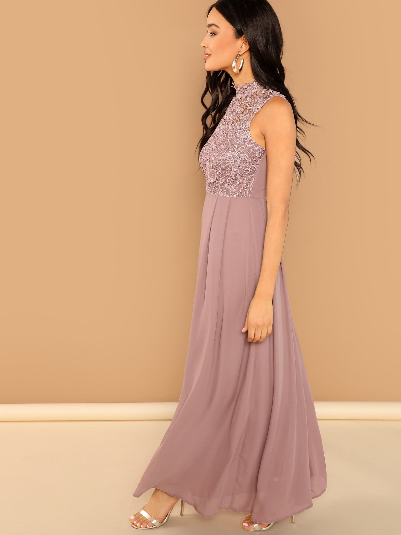 cd3889d10 Guipure Lace Top Maxi Prom Dress | SHEIN UK