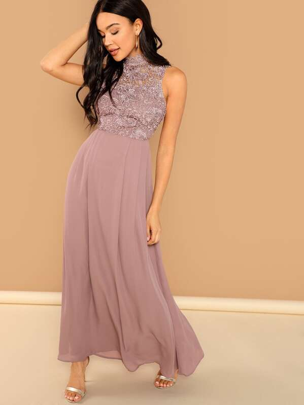 87935c263 Guipure Lace Top Maxi Prom Dress | SHEIN