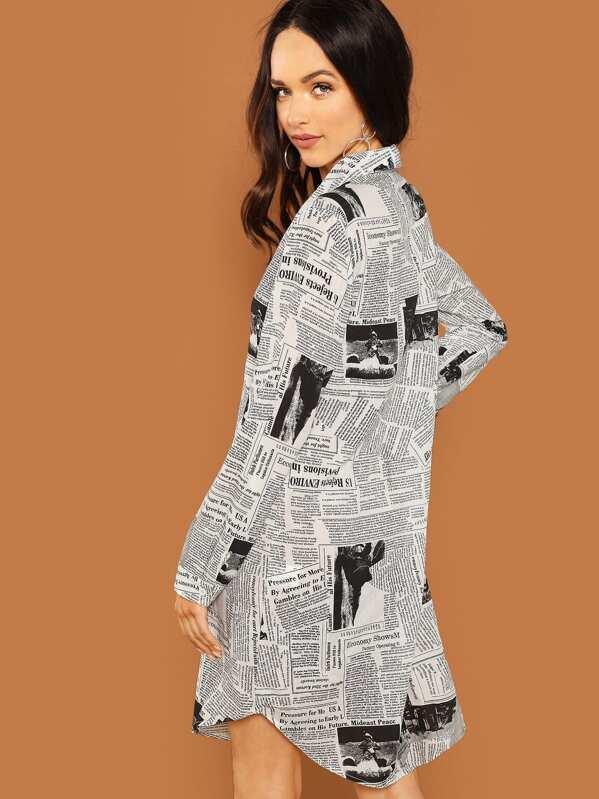 69e3be358d Newspaper Print Shirt Dress   SHEIN