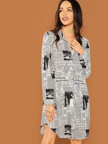 Newspaper Print Shirt Dress
