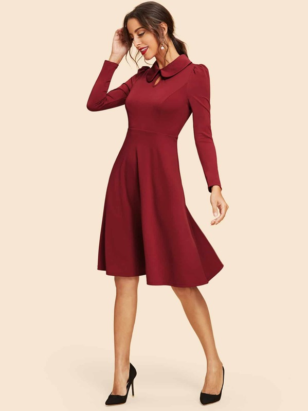 4ad34a61f6e1 Peter Pan Collar Keyhole Front Flare Dress | SHEIN