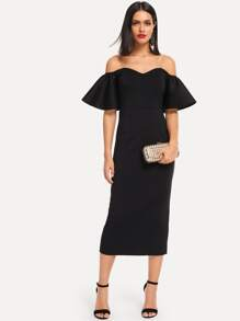 Flounce Sleeve Split Back Bardot Midi Dress