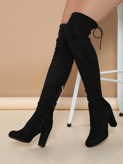 492276e032a2 Almond Toe Chunky Heel Thigh High Boots