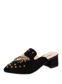 Studded Decor Heeled Mules
