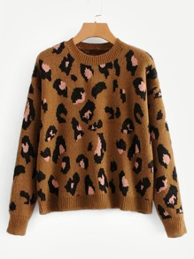 Drop Shoulder Leopard Print Sweater