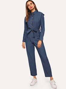 Single Button Knot Waist Jumpsuits