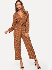 Polka Dot V Neck Jumpsuits