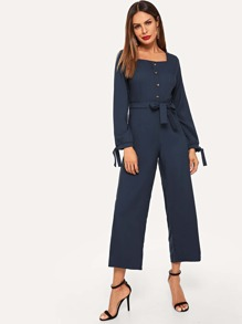 Single Button Knot Waist Square Neck Jumpsuits