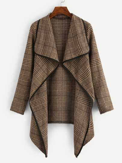 Plus Plaid Drape Front Coat