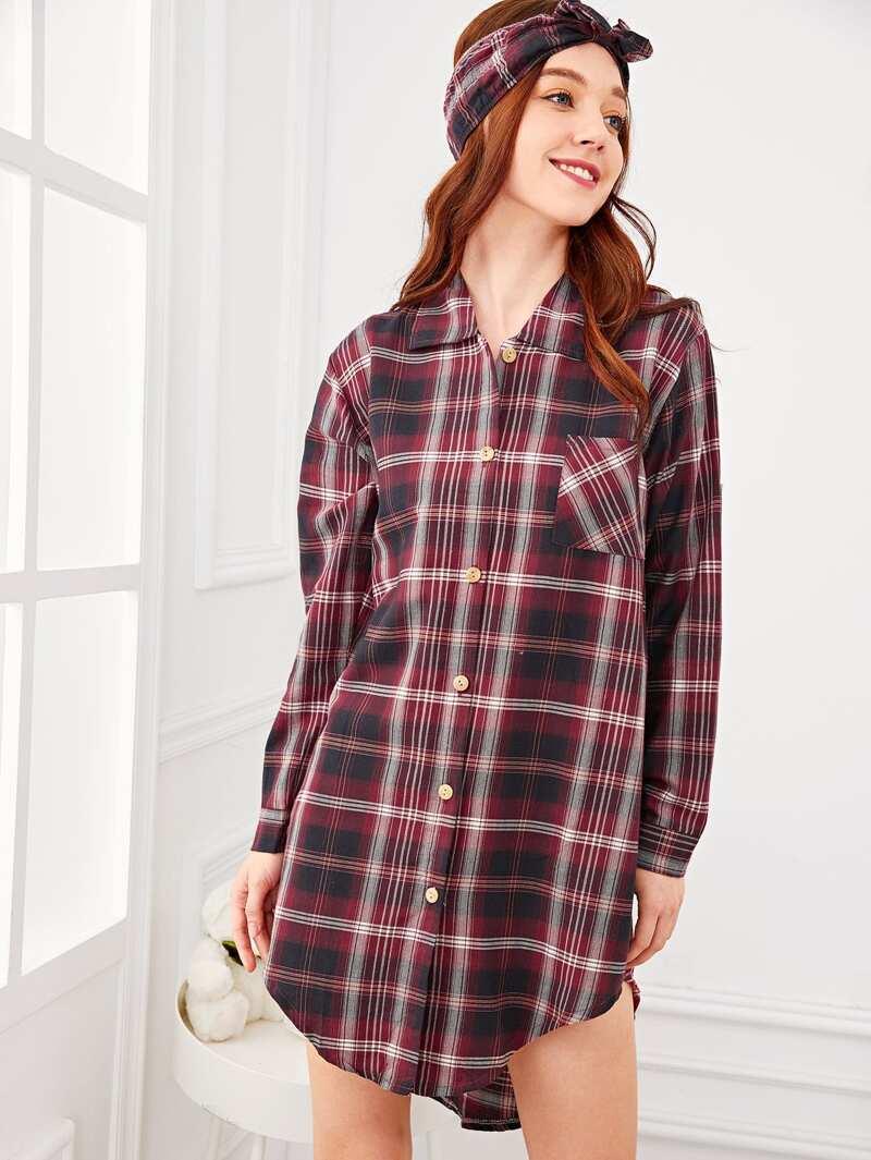 Plaid Button Up Shirt Dress With Headband