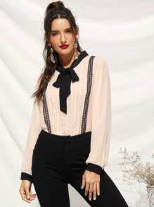 Lace Panel Tie Neck Pleated Blouse