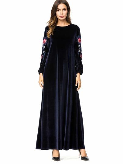 2fb7b1bcf3ee Velvet Floral Embroidered Tent Dress