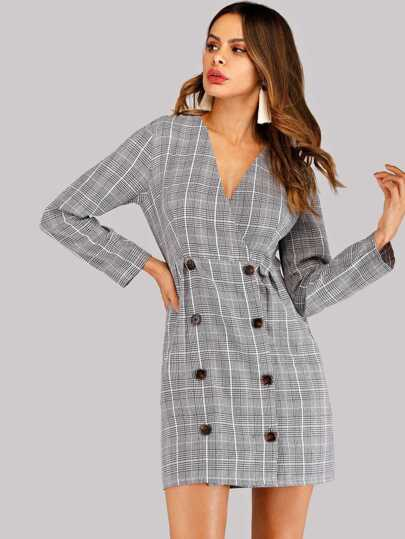 Double Breasted Glen Plaid Dress