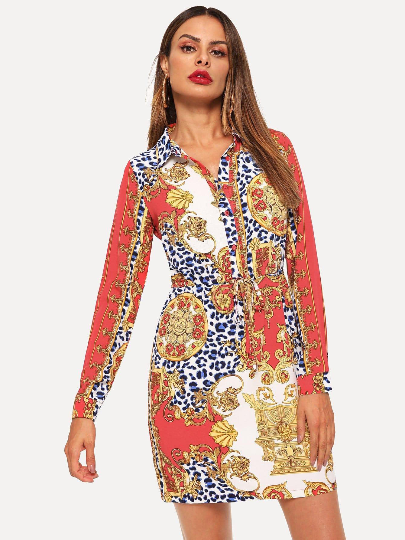 6acd3b7a43 Baroque Print Shirt Dress EmmaCloth-Women Fast Fashion Online