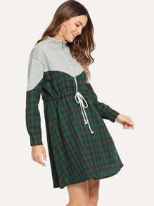 Quarter Zip Drawstring Waist Plaid Dress