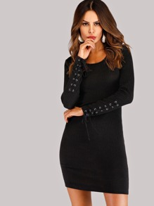 Lace Up Knit Solid Dress