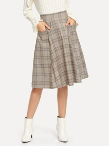 Pocket Side Plaid Skirt