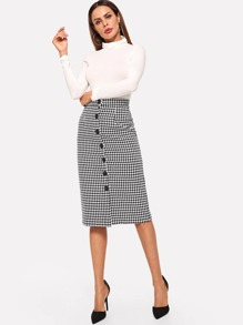 Button Front Houndstooth Print Skirt