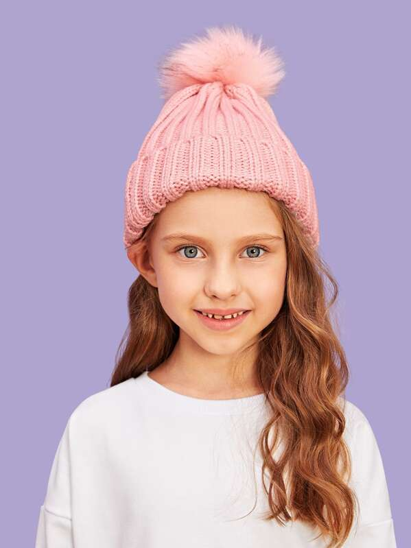 bf528e02c24 Girls Pompom Decorated Beanie Hat