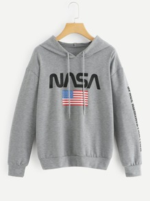 Letter And Flag Print Hooded Sweatshirt
