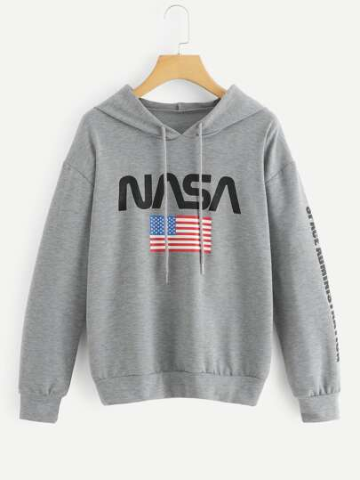American Flag & Letter Hooded Sweatshirt
