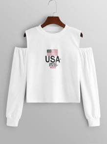 Cold-Shoulder Letter And Flag Print Sweatshirt