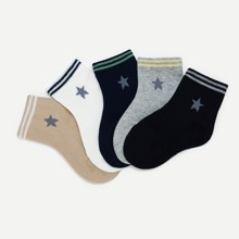 Toddler Kids Star Pattern Striped Hem Socks