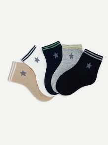 toddler kids star pattern striped hem socks 5pairs