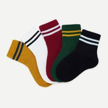 SHEIN | Toddler Kids Rib Striped Socks 5pairs | Goxip