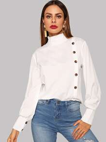 Stand Collar Single Breasted Blouse