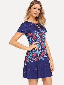 Tie Neck Pocket Side Floral Dress