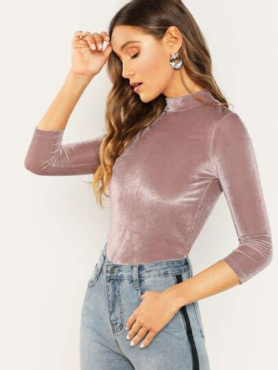 a2cc1190fc7f78 Mock Neck Velvet Ribbed Fitted Top