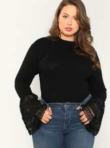 Plus Lace Contrast Ribbed Knit Bell Sleeve Tee