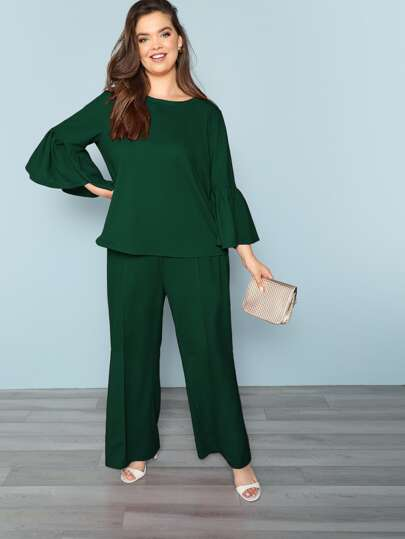 Plus Knot Flare Sleeve Solid Top & Pants Set