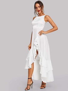 Tiered Ruffle Hem Shell Dress