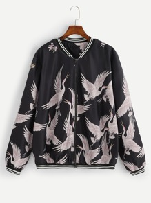 Plus Allover Crane Print Striped Trim Jacket
